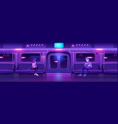 People in night subway train car underground vector