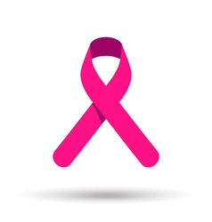 Pink ribbon symbol for breast cancer awareness vector image