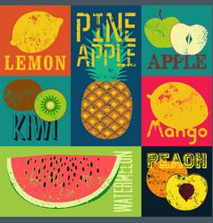 Pop art grunge retro fruit poster set fruits vector