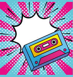 Pop art music cassette vintage cartoon vector