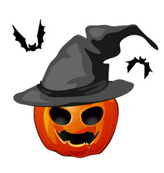 pumpkin in a witch hat and bats isolated on white vector image