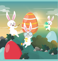 rabbit painted easter eggs in the forest vector image