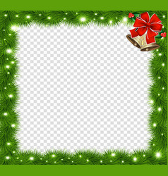 Realistic fir-tree sparkling border frame with vector