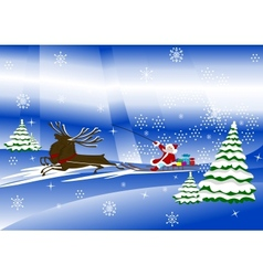 Santa Claus with christmas deer and presents vector image