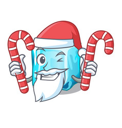 Santa with candy ice cubes on the cartoon funny vector