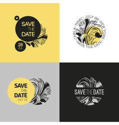 Save the date wedding graphic set in baroque style vector