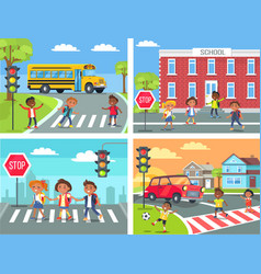 Schoolchildren cross road on pedestrian crossing vector