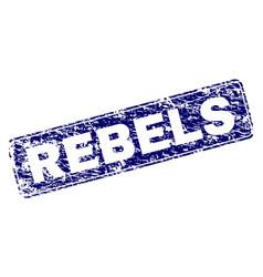 Scratched rebels framed rounded rectangle stamp vector