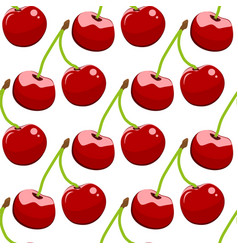 Seamless background cherry on a white background vector