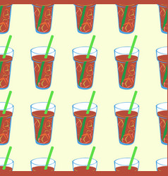 seamless pattern with brown fizzy lemonade vector image
