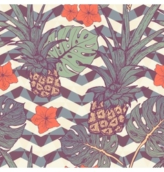 Seamless pattern with pineapple and tropical vector image