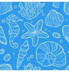 Seamless pattern with sea life vector image