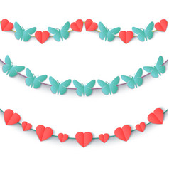 Set garlands of colored hearts and butterflies vector