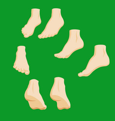Set of cartoon-style girl foots in different vector