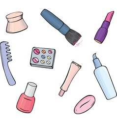 Set of make up items vector