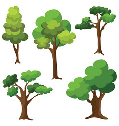 set of trees isolated on white background cartoon vector image