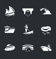 set water and transport icons vector image
