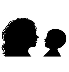 Silhouette mother and baby vector