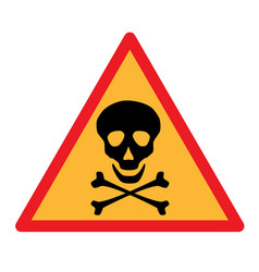 skull and crossbones symbol on triangle sign vector image