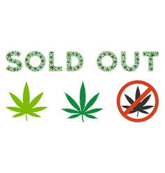 Sold out caption composition of cannabis vector