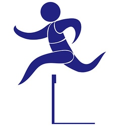 Sport icon for hurdle in blue vector image