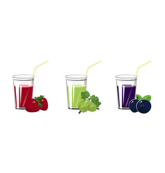 Strawberry gooseberry and blueberries juices vector