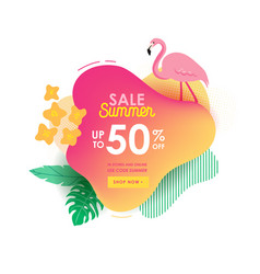 Summer sale banner template liquid abstract vector