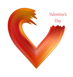 valentines heart liquid brush shape color vector image