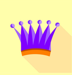 violet queen crown icon flat style vector image