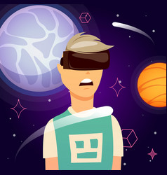 virtual reality space exploration composition vector image