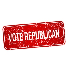 Vote republican red square grunge textured vector