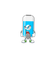 Wall hand sanitizer cartoon design with mad face vector