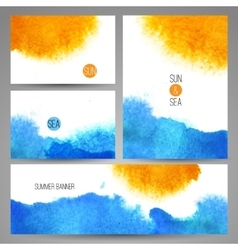 Watercolor sea background poster or card template vector