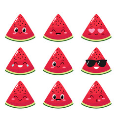 watermelon slice character with funny face vector image