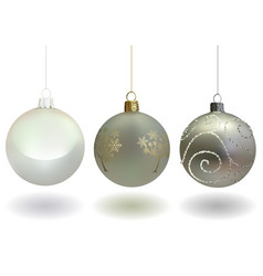 white christmas ball set vector image