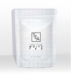 white pouch or sachet mockup with holograph vector image
