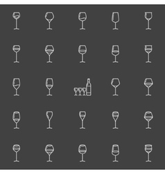 Wine glasses line icons vector image
