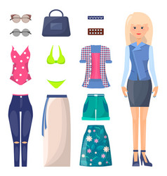 Woman in skirt and jacket with summer clothes set vector