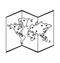 world map isolated black and white vector image