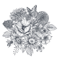 Wreath with hand drawn flowers leaves and vector