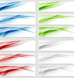 Bright colorful wave header collection vector image vector image