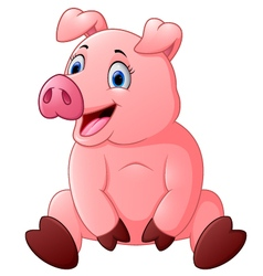 cartoon happy pig sitting vector image