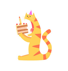 cute cartoon tiger biting piece of cake happy vector image vector image