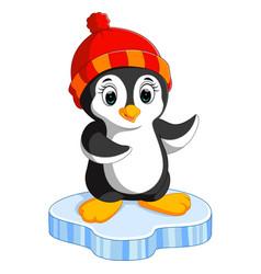 happy cartoon penguin on ice vector image