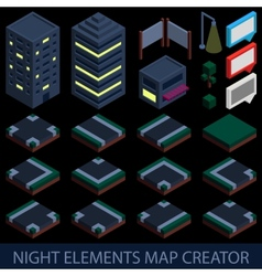 Isometric night elements map creator vector image