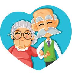 senior couple in love cartoon vector image