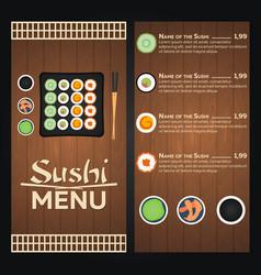 sushi menu design template vector image
