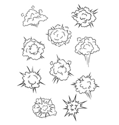 Assorted cartoon explosion effects and clouds vector image vector image