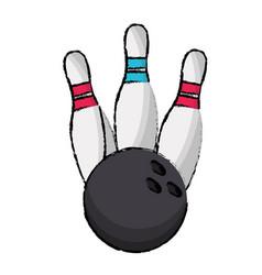 bowling pin sport ball vector image vector image