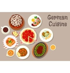 German cuisine meat dishes with desserts icon vector image vector image